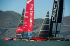 Team NZ were well beaten in the prestart after Oracle got port entry yesterday. Photo / Chris Cameron