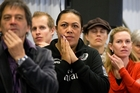 Beatrice Faumuina joined hundreds of Team NZ fans yesterday at Queens Wharf, Auckland, hoping Dean Barker and his crew would come away with the America's Cup. Photo / Greg Bowker
