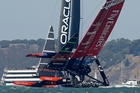 Team New Zealand bounced back quickly from their near-capsize in yesterday's opening race. Photo / AP