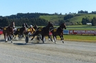 Franco Ledger (outer) wins at Oamaru yesterday. Photo / APN