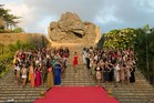 130 contestants from the Miss World beauty pageant pose at the GWK cultural center in Bali.Photo / AFP