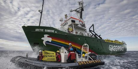 Greenpeace ship Arctic Sunrise enters the Northern Sea Route off Russia's coastline to protest against Arctic oil drilling. Photo / AP