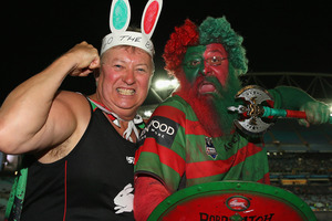 A Rabbitohs supporters in the crowd pose during the NRL Qualifying match between the South Sydney Rabbitohs and the Melbourne Storm. Photo / Getty Images.