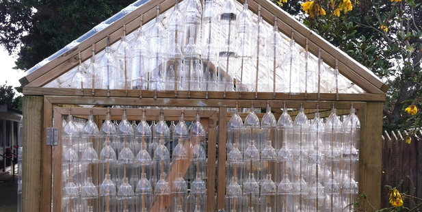 The glasshouse made of plastic bottles at Edendale School in Sandringham. Photo / Nici Wickes
