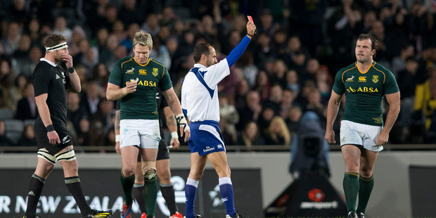 Referee Romain Poite pulls the Red Card for South African hooker Bismarck du Plessis.