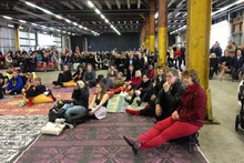 People gather at Shed 10 for the America's Cup.Photo / Brett Phibbs