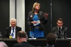 Gail McIntosh talks at a meet the candidates forum. Photo / Joel Ford