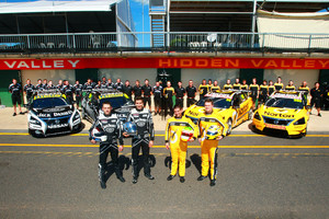 The Kelly Brothers team and their support crew. Right, the Nissan Motorsport (Kelly Brothers Racing) engineering area.