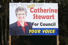 Catherine Stewart's election sign on Waihi Rd   is one of a number to have been vandalised. Photo / Joel Ford