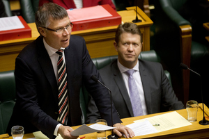 New Labour Party deputy leader David Parker, watched by new party leader David Cunliffe, during question time in Parliament. Photo / Marty Melville
