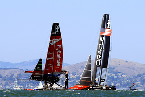 In Race 8, Team NZ had changed to bigger rudders and different daggerboards to help with stability in the bigger winds. Photo / Getty Images
