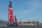 Emirates Team New Zealand during pre-start of Race 11 of the America's Cup. Photo / Brett Phibbs
