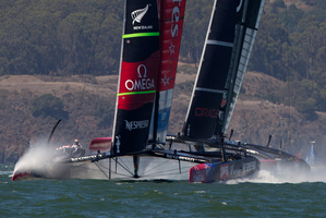 Emirates Team New Zealand lead Oracle on the way to the Race 11 win. Photo / Brett Phibbs