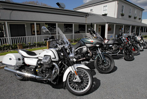 Six of the best... the Moto Guzzi range shows off its variety outside the Riverhead Tavern.