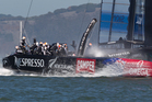 Emirates Team New Zealand in action against Oracle, Oracle went on to win Race 12 of the America's Cup, on San Francisco Bay, San Francisco, California, United States of America. Photo / Brett Phibbs.