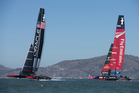 Oracle were convincing on every leg yesterday, leading Team NZ at every mark. Photo / Brett Phibbs