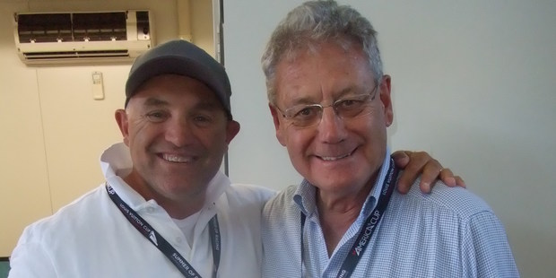 Peter Montgomery (right) with NewstalkZB analyst Craig Monk. Montgomery has sailed on several Whitbread/Volvo boats.