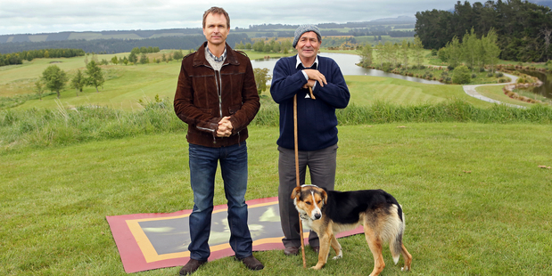 Presenter Phil Keoghan gets the flavour of high country life at Terrace Downs, Canterbury.