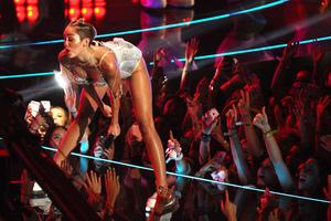 Miley Cyrus performing at the MTV VMAs. Photo / AP