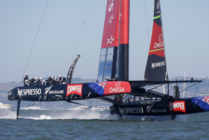Team NZ head for the finish.  Photo / AP