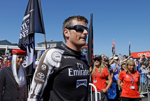 Emirates Team New Zealand skipper Dean Barker raises a cheer from fans.Photo / AP