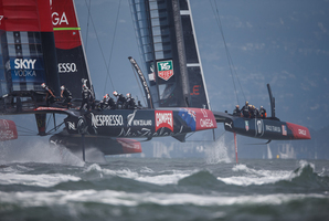 Oracle Team USA came back to gain the upper hand against Team New Zealand. Photo / Abner Kingman