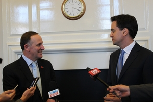 John Key and British Labour leader Ed Miliband meet at Portcullis House in London. Photo / Claire Trevett