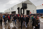 Team New Zealand fans leave Shed 10 on Queens Wharf.Photo / Greg Bowker