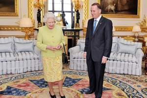 Queen Elizabeth II greets Prime Minister of New Zealand, John Key, in the White Room at Windsor Castle, in 2011. Photo / AP