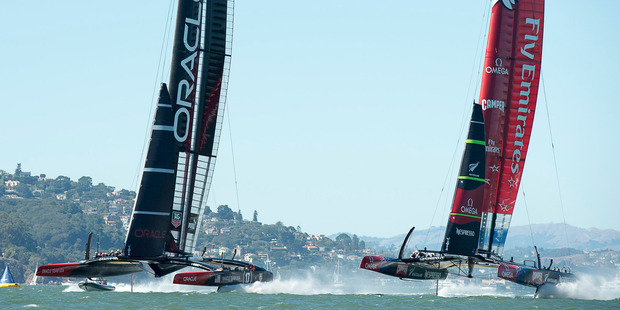 Emirates Team New Zealand and Oracle Team USA manouver for starting positions for race ten on day six of America's Cup. Photo / Chris Cameron