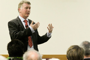 Kevin Snee CEO of the DHB speaking at a pro-Fluoride public information meeting held in Hastings. Photo / Warren Buckland