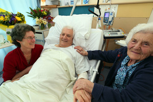 John Vujcich with his wife Elodie, left and mother Millie in Whangarei hospital after his farm accident on Tuesday. Photo / John Stone