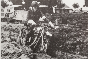 Harrington-Hutchings in Italy aboard his favourite, a Matchless 350cc.