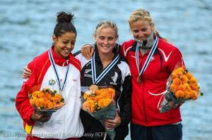 Teneale Hatton (centre) won a world title in the under-23 K1 marathon in Denmark. Photo / Balint Vekassy