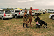 Performers make their way towards the stage at the Tuhoe Ahurei Festival. Photo / Peter Quinn