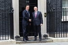 British Prime Minister David Cameron (left) welcomes John Key to Number 10 Downing St. Photo / Claire Trevett