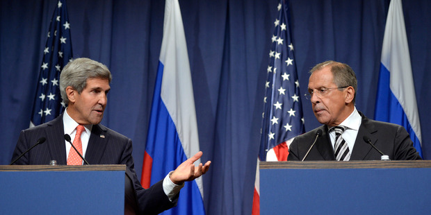 U.S. Secretary of State John Kerry, left, and Russian Foreign Minister Sergei Lavrov, right. Photo / AP