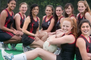 HISTORY MAKERS: The John Paul College Senior A netball team led by Samantha Sinclair (front left) and Maria Gardner (front right) are going to the national netball champs for the first time. PHOTO/BEN FRASER 160913BF1