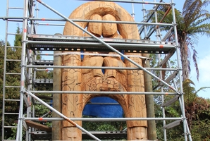 Work is under way at the NZ Maori Arts and Crafts Institute on a  replica  waharoa made from a piece of  kauri 5m high.