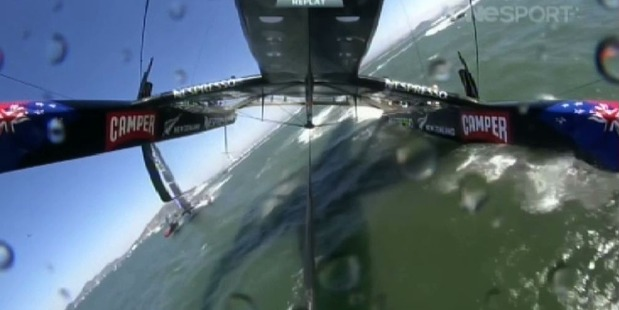 The moment it almost went horribly wrong for Team NZ. Image / TVNZ