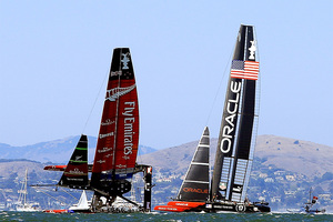 Team NZ nearly capsizes during an America's Cup finals race against Oracle Team USA. Photo / Getty Images
