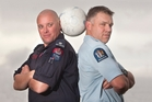 Rotorua police team captain Mike Kelly (right) and Rotorua Fire Service team captain Tony Whyte will face off as part of a curtain raiser match for the Wellington Phoenix on Sunday. Photo / Ben Fraser