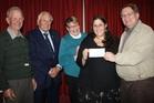 Rotary club members Richard Barnett (left), Don Stephenson and Liz Edwards, with Tammy Olsen of Ashhurst, the winner of the design competition for  the town's new mascots, and Rotary club member Tim Delaney.