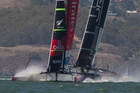 Team New Zealand were never able to stretch out a comfortable lead over Oracle in race 11. Photo / Brett Phibbs