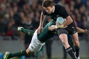Beauden Barrett made a strong impression after replacing an injured Dan Carter against South Africa on Saturday night. Photo / Greg Bowker