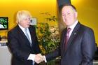 Prime Minister John Key meets London's Mayor Boris Johnson. Photo / NZ Herald