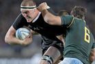 All Blacks lock Brodie Retallick in action against South Africa. Photo / Brett Phibbs