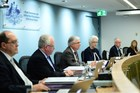 Justice Peter McClellan (3rd-L) gives his opening remarks at the beginning of the public hearings at the Royal Commission into Institutional Responses to Child Sexual Abuse in Sydney. Photo / AFP