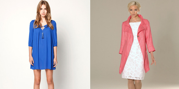 Try a splash of colour, with Helen Cherry's blue dress ($439) or Jane Daniels' pink linen coat $829.