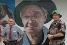 Chris Wilkie with his portrait of Kaikohe identity Shaun Reilly and the real thing. Photo/ Pete de Graaf